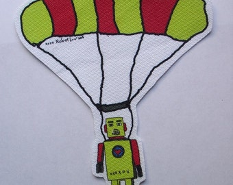 Sky diving yellow robot doodle patch