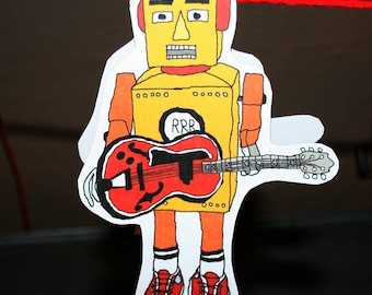 Yellow robot rocker card