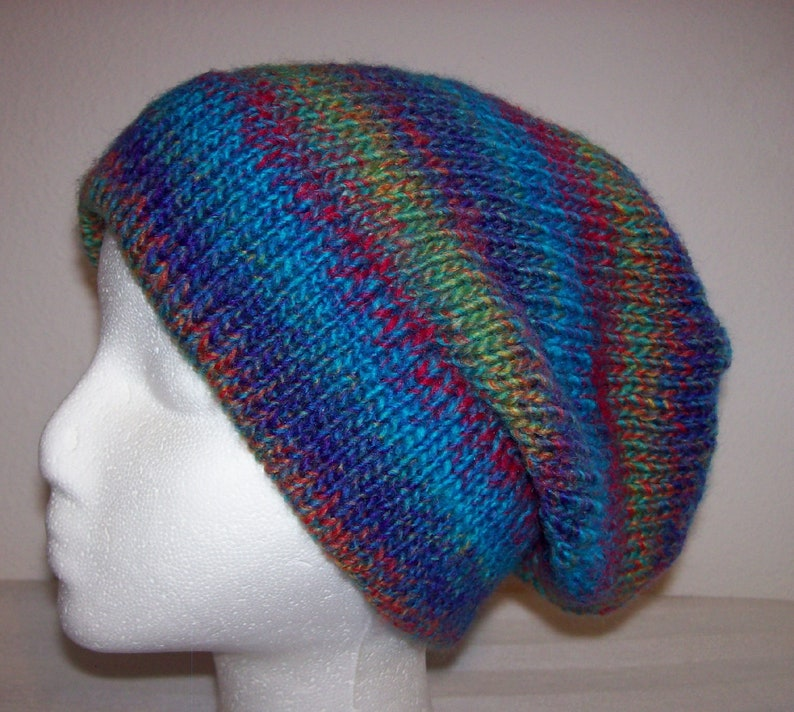 Acrylic Ski Hat Slouchy Knit Beanie Knitted Hipster Toque ...