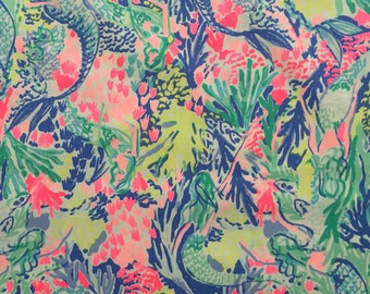 "mermaid's cove dobby cotton fabric square 18""x18"" ~ lilly summer 2018 ~ lilly pulitzer"