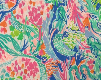 "mermaid's cove organic cotton fabric square 18""x18"" ~ lilly spring 2018 ~ lilly pulitzer ~ pottery barn"