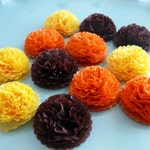 Button Mums Tissue Paper Flowers  1 inch Thanksgiving Mums Fall Autumn Decoration