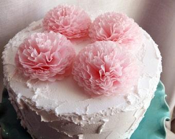 Button Mums Tissue Paper Flowers  Blush Pink  3 inch Wedding, Bridal Shower, Baby Shower Decor