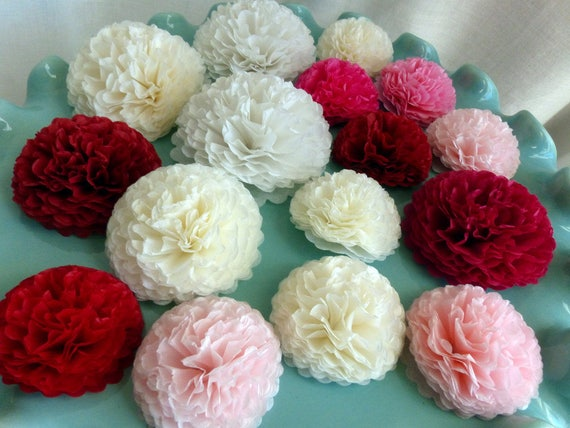 Pink button mums tissue paper flowers small paper flowers etsy mightylinksfo