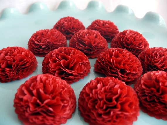 Button Mums Tissue Paper Flowers Cranberry Red Wedding Bridal Shower Baby Shower Decor
