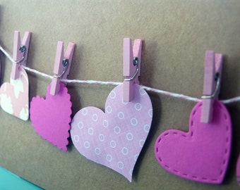 Heart Clothesline Card, Wedding Card, Love Greeting Card, Valentine's Day, Bridal Shower, Baby Girl Shower, Blank Card, Clothesline Card