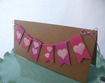Heart Banner Card, Wedding Card, Love Greeting Card, Valentine's Day, Bridal Shower, Baby Girl Shower, Blank Card, Handmade Card, Bunting