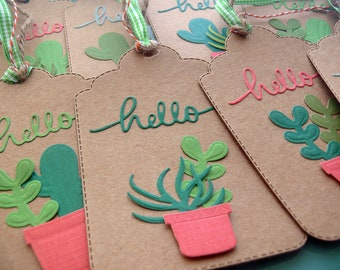 Cactus Tags, Succulent Tags, Plant Tags, Hello Tags, Gift Tags, Wedding Tags, Bridal Shower, Baby Shower, Gift Wrap, Hostess Gifts