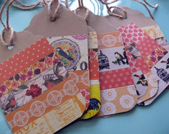 Gift Tags, Bright Cheerful Gift Tags, Present Tags, Bird Gift Tags, Orange, Tangerine, Handmade Gift Tags, Blank Gift Tags, Polka Dots