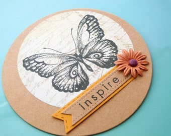 Butterfly Scrapbook Embellishments, Butterfly Cards, Circle Cards, Flat Card, Vintage Style Butterfly, Inspirational Words, Butterfly Art