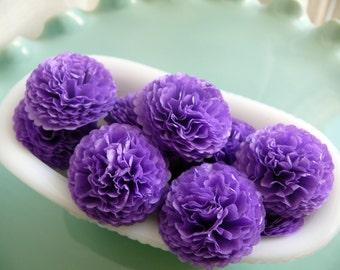 Tissue Paper Flowers 1 inch Button Mums Pansy Purple  Wedding, Bridal Shower, Baby Shower Decor