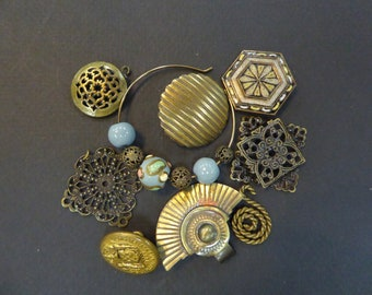 Group of vintage brass jewelry supplies