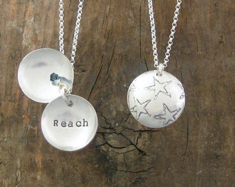 One Little Word Clamshell necklace using Recycled Sterling Silver