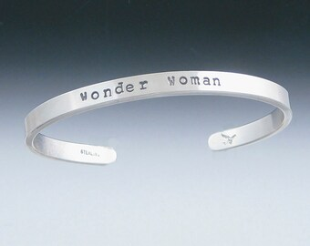 One little Word Recycled Sterling Silver Cuff Bracelet