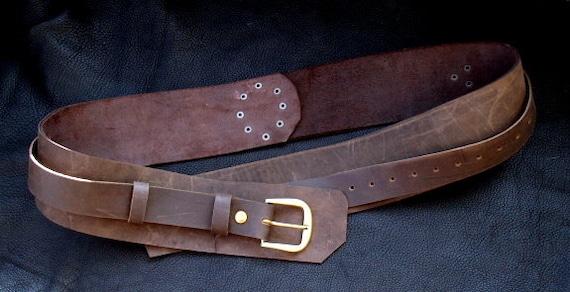 Ceinture en cuir steampunk Pirate, ceinture large marron avec boucles et  rivets en laiton 82e16bf7151