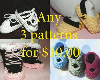 Three Crochet Patterns for the price of two-Baby Bootie Patterns