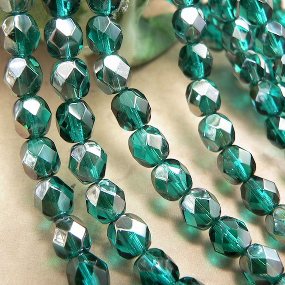 50 Emerald-Celsian Czech Firepolished Faceted Round Glass Beads 4mm