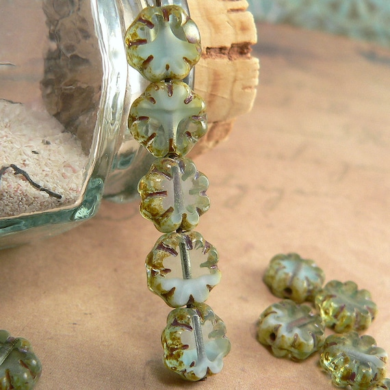 25 beads Turquoise Mix Picasso Czech Glass Flower Beads 9mm