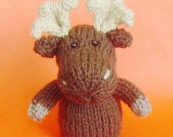 Moose Toy Knitting Pattern (PDF) Toy, Egg Cozy & Finger Puppet instructions included