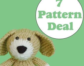 KNITTING PATTERN DEAL - 7 Animal Toy Patterns - you choose (pdf)