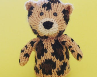 Leopard Toy Knitting Pattern (PDF) Toy, Egg Cozy & Finger Puppet instructions included