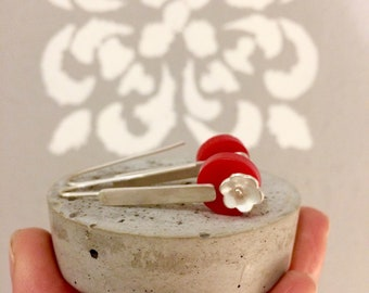 Long Sterling Silver Earrings with Flowers and Round Red Plexi Glass, Modern Silver Jewelry, Contemporary art - Flower Power