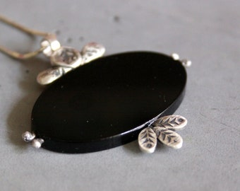 Rustic Sterling Silver Necklace with Silver Rose, Leaves and Black Plexiglass - Contemporary Jewelry