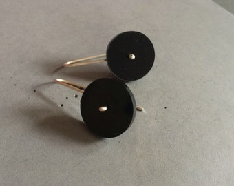 Long Circle Earrings made of Sterling Silver and Black Plexi, Minimalist Silver Jewelry