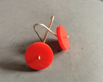 Long Circle Earrings made of Sterling Silver and Red Plexi, Minimalist Silver Jewelry