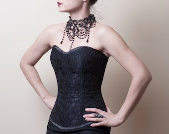Black Lace Overbust Corset-Made to Measure (Your Size)