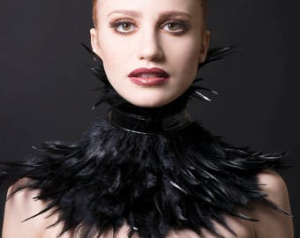 Black Feather Neck Corset/Choker