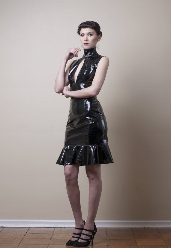 PVC Pencil Dress with Keyhole Slit Made to Measure (Your Size)