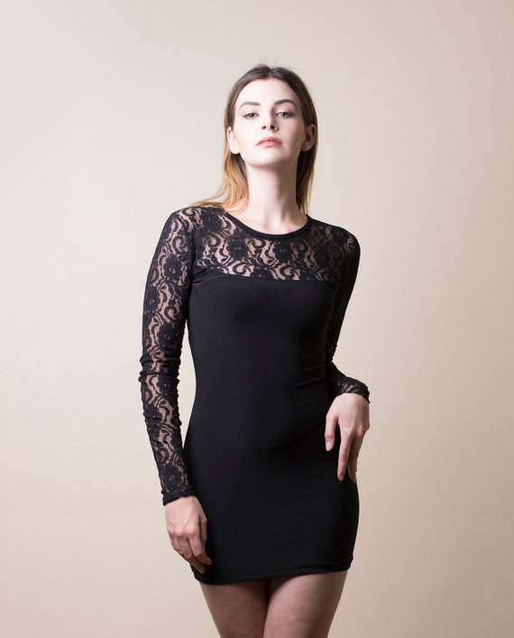 Black Lace And Rayon Mini Dress With Long Sleeves Made To Etsy