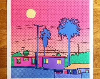 LA Moonrise print