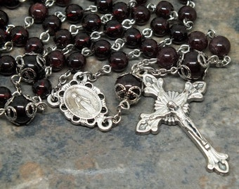 Gemstone Rosary of Garnets, 5 Decade Rosary, Catholic Rosary, Miraculous Medal, January Rosary, Birthstone Rosary