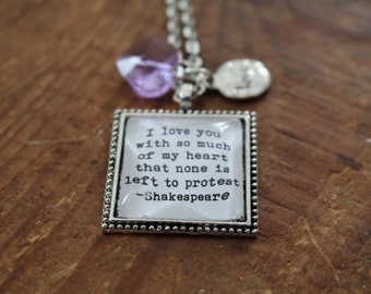 Shakespeare love quote literary style necklace
