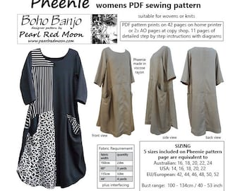 Pheenie Dress, PDF sewing pattern
