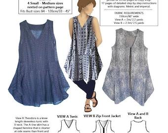 Theodora Tunic and Jacket PDF PATTERN, Med - Small sizes