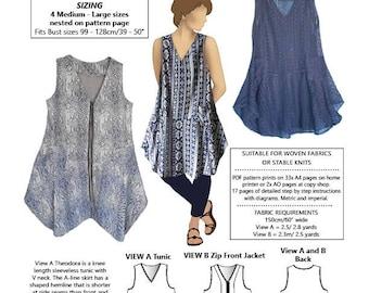 Theodora Tunic and Jacket PDF pattern, Large sizes