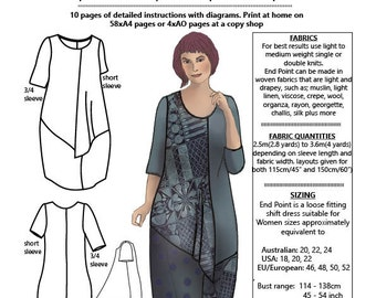 END POINT, multiple Large sizes, womens PDF sewing pattern