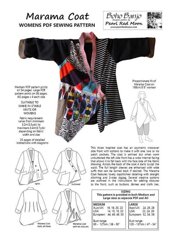 Capa de Marama patrón de costura para mujeres PDF