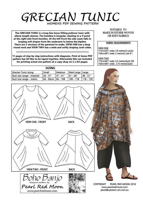 Túnica de Grecian patrón de costura PDF | Etsy