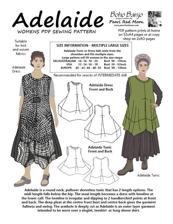 Vestido de Adelaide y patrón de costura de túnica TALLAS | Etsy
