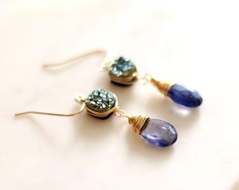 Iolite Gemstone earrings Denim Blue Druzy Earrings Water Sapphire September birthstone 14Kt goldfilled Under 100 VitrineDesigns