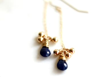 Blue Sapphire Earrings September Birthstone Long dainty drop earrings by VitrineDesigns gift for her September birthdayUnder 75