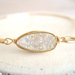 White gold Druzy bangle Teardrop druzy bangle geometric jewelry Drusy quartz Amaretto Vitrine Gift for her Under 55 Wedding bangle