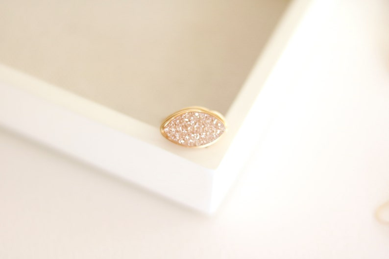 Champagne druzy ring Marquise ring statement ring Cocktail image 0