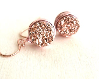 Druzy earrings Rose gold druzy earrings Drusy dangle Vitrine Gift for her Under 60 bridesmaid gift