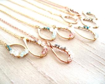 Bridal diamond pendant necklace, Rough Diamond Pink, Blue, White Pendant Necklace wedding jewelry Under 125 VitrineDesigns