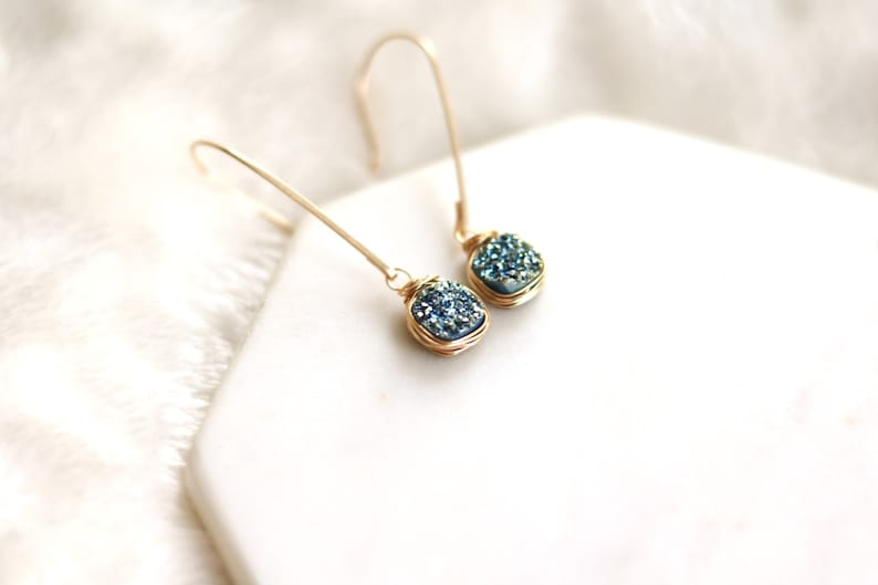 Aqua Druzy earrings hammered drops teal blue turquoise Mermaid image 0